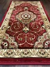 Modern/traditional Aprox 4x2 60cm x110cm New Rugs Woven Hand Carved Nice Red.